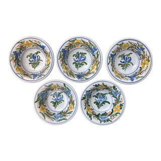Vintage Mediterranean Greek Floral Ceramic Pottery Bowls - Set of 5 For Sale