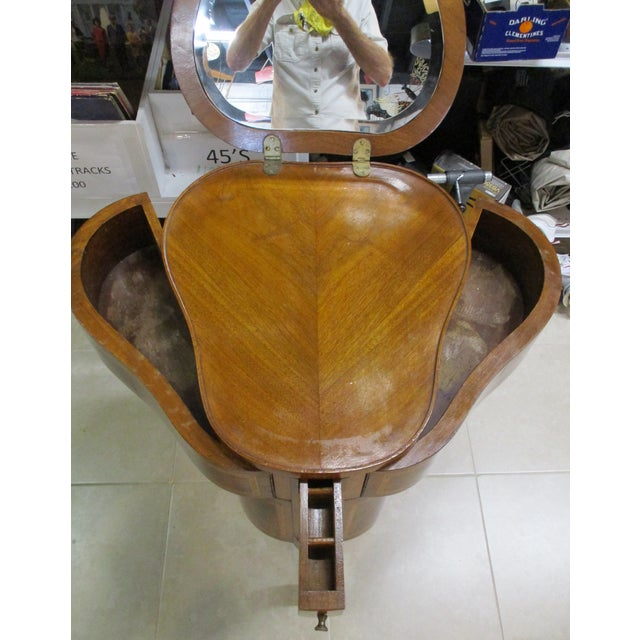 Brown Egyptian Inlaid Wood Three Leg Flip-Up Mirror Top Vanity Dressing Table For Sale - Image 8 of 13