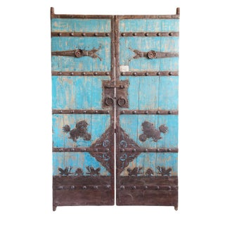 Vintage Turquoise Painted Garden Gate For Sale