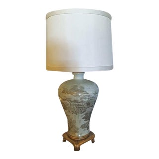 Grey And White Ornate Table Lamp
