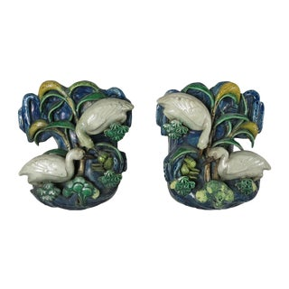 19th Century Vintage Chinese Glazed Pottery Wall Pockets- A Pair For Sale