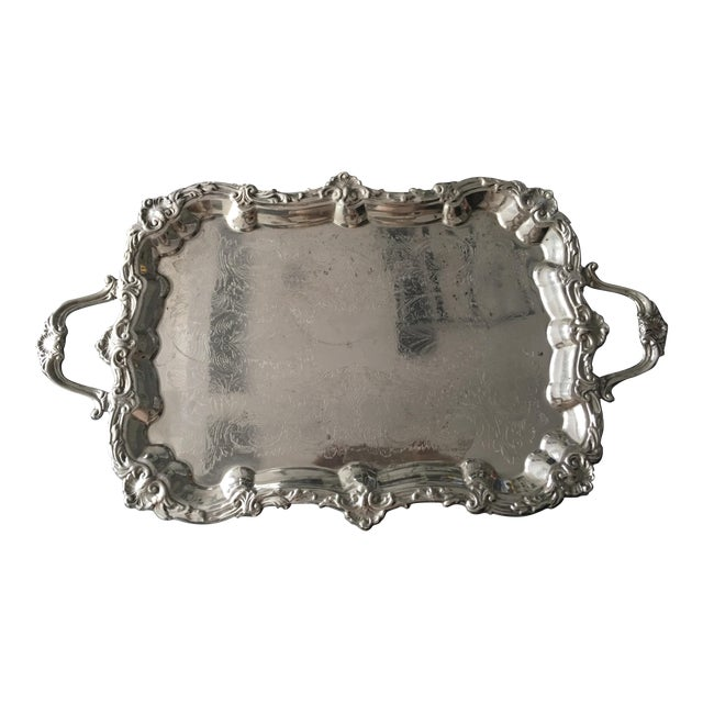 Silver Plate Victorian Footed Buttler's Tray For Sale
