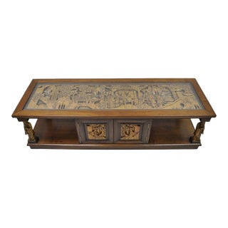 Vintage Carved Oriental Asian Figures Old Chinese Wiseman Coffee Table Cabinet