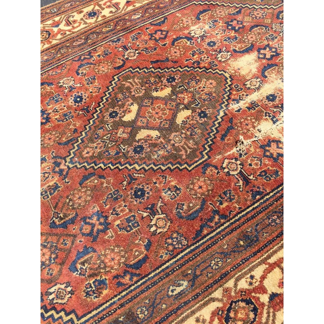 Antique Distressed Persian Rug / Wall Hanging - 4′4″ × 6′2″ - Image 2 of 10