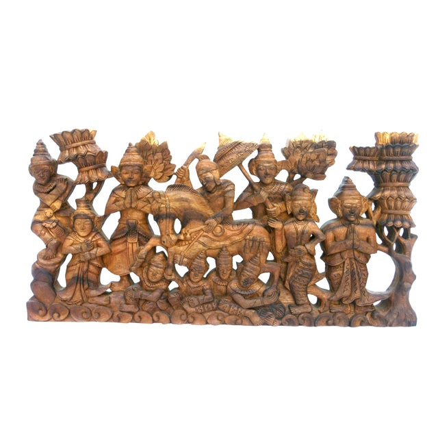Hand-Carved Wood Buddha Relief For Sale