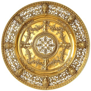 An Elaborate French Gilt-Bronze Ormolu Pierced Footed Centerpiece Platter, 1880 For Sale