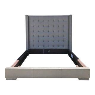 Restoration Hardware Modena Shelter Box-Tufted Cal King Leather Platform Bed For Sale