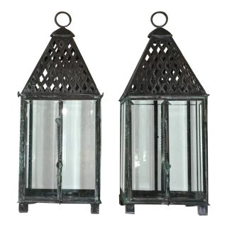 Hand Crafted Garden Candle Lantern - a Pair For Sale