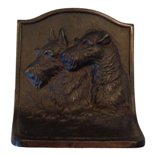 1930s Hubley Terrier Dogs Cast Iron Bookend For Sale
