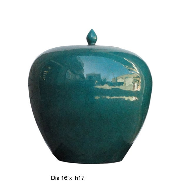 Chinese Teal Green Porcelain Ceramic Fat Jar - Image 5 of 5