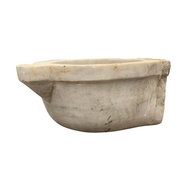 A wonderful 18th century Turkish Hammam carved white marble sink vessel with a wonderfully worn finish. A drain could be...