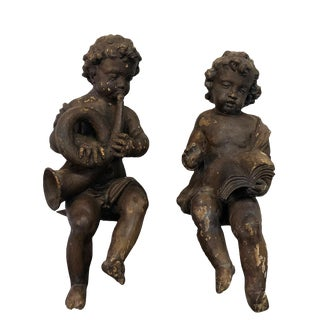19th Century French Baroque Wooden Angels - a Pair For Sale