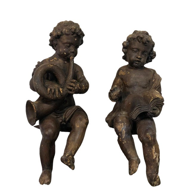 19th Century French Baroque Wooden Angels A Pair