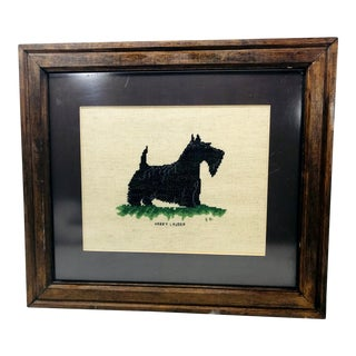 Vintage Black Scottish Terrier Dog Framed Textile Art in Cross Stitch For Sale