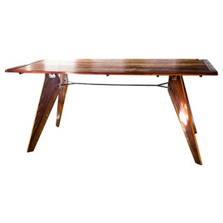 Mid-Century Prouve Style Natural Dining Utility Table For Sale