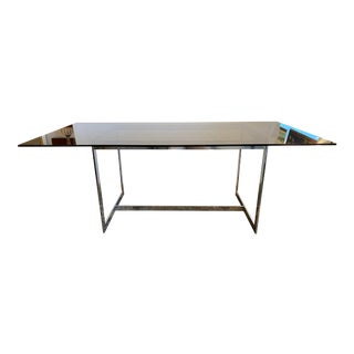 Mid 20th Century Chrome + Smoke Glass Dining Table For Sale