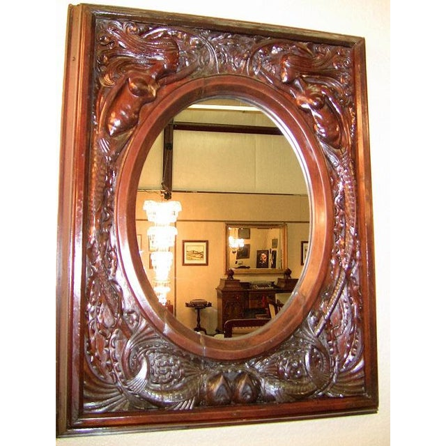 19c American Dark Walnut Wall Mirror With Mermaids - Important For Sale - Image 4 of 12