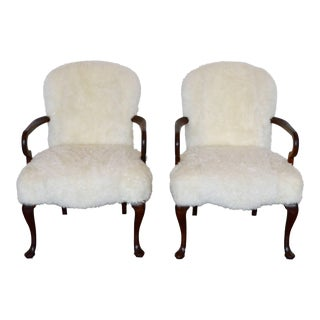 Sheepskin Armchair With Queen Anne Legs For Sale