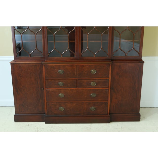 Traditional Kittinger Vintage 1940s Era Inlaid Mahogany Breakfront For Sale - Image 3 of 13