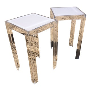 Vintage Postmodern Clear & White Lucite Side Tables - a Pair For Sale