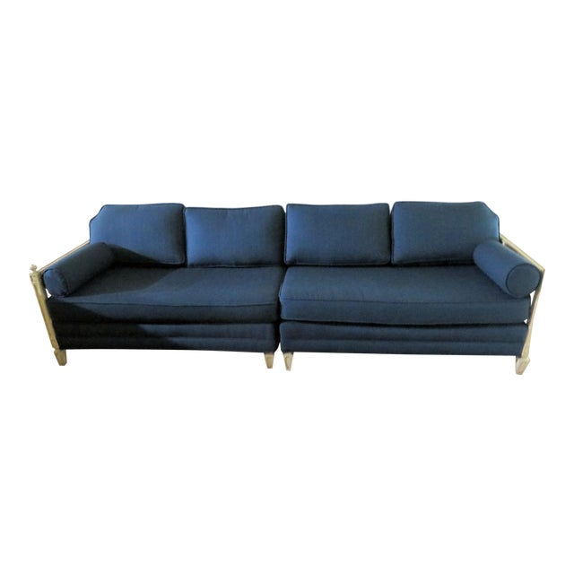 Distressed Frame Royal Blue 2 Piece Sofa For Sale
