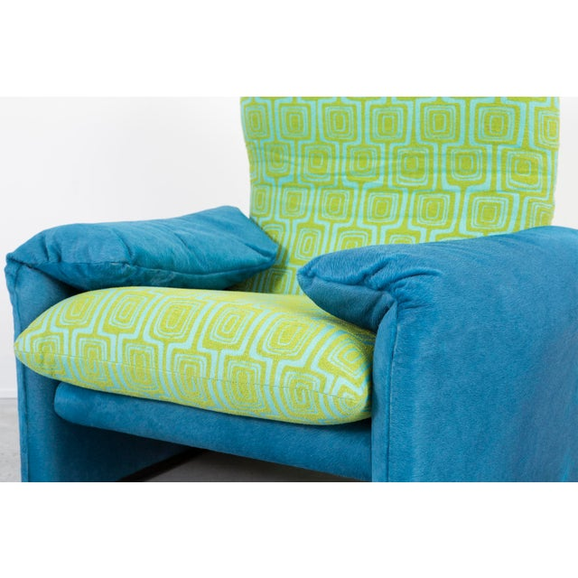 Blue Vico Magistretti Maralunga Chair + Ottoman For Sale - Image 8 of 11