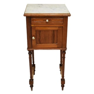 19th Century French Longleaf Pine Marble-Top Nightstand For Sale