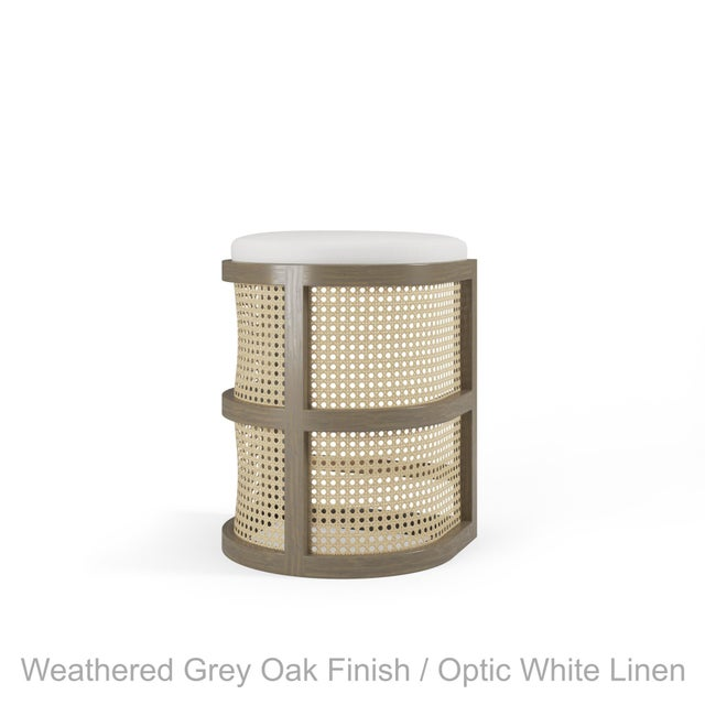 Not Yet Made - Made To Order Isabella Counter Stool - Weathered Grey Oak, Optic White Linen For Sale - Image 5 of 5