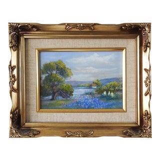 Small Bluebonnet Landscape Painting For Sale