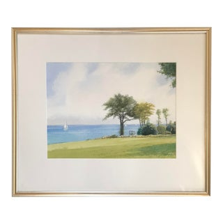 "Late 20th Century ""Sailing on Buzzards Bay"" Watercolor Painting by Frank McCoy, Framed For Sale"