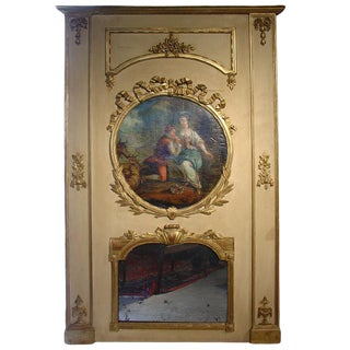 Large Antique 19th Century Louis XVI Style Painted Trumeau Mirror For Sale
