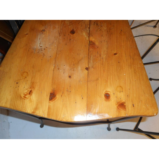 Set of Four Mid-Century Iron and Wood Bar Stools For Sale - Image 11 of 12