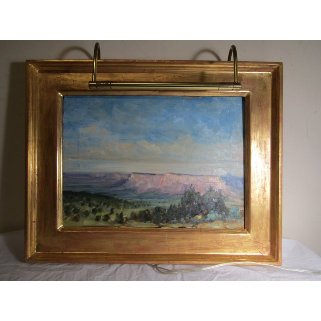 Blue Original Signed Southwest Landscape Oil on Canvas Painting For Sale - Image 8 of 8