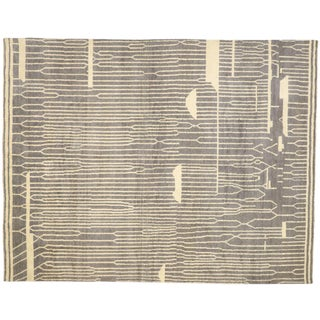 Contemporary Gray Moroccan Style Rug-12′1″ × 15′7″ For Sale