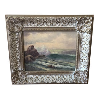 1960s Vintage Roberta Lester California Seascape on Board Painting For Sale