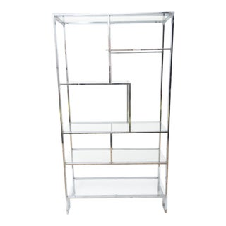 1960s Mid-Century Modern Milo Baughman Chrome and Glass Etagere For Sale