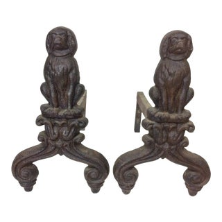 Cast Iron Seated Dog Andirons - A Pair For Sale