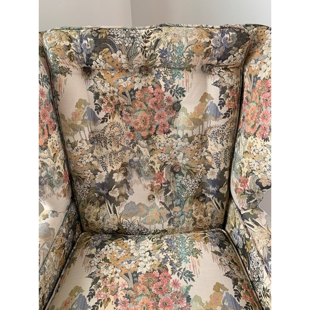Wood Custom Floral Wingback Chair For Sale - Image 7 of 12