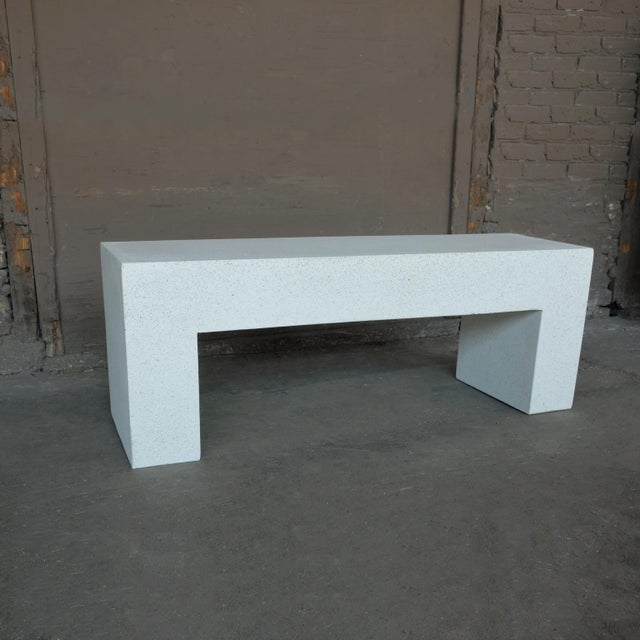 Contemporary Cast Resin 'Aspen' Bench, White Stone Finish by Zachary A. Design For Sale - Image 3 of 10
