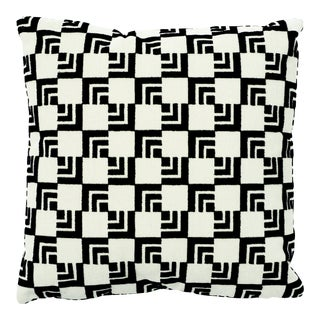 Contemporary Schumacher X Frank Lloyd Wright Imperial Hotel Velvet Black & White 16x16 Pillow For Sale