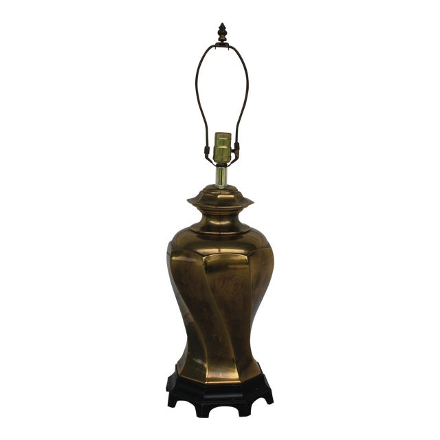 Vintage Chinoiserie Brass Lamp For Sale