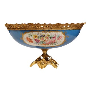 19th Century French Hand-Painted Porcelain Sevres Jardinière With Bronze Mounts For Sale