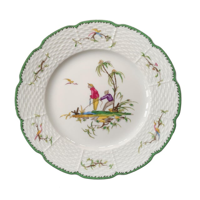 """Chinoiserie Raynaud Chinoiserie Dessert Plates in """"Si Kiang"""" Pattern - Set of 5 For Sale - Image 3 of 10"""
