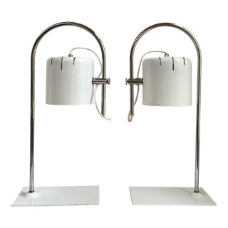 1970s Joe Colombo Style White & Chrome Desk Lamps - a Pair For Sale