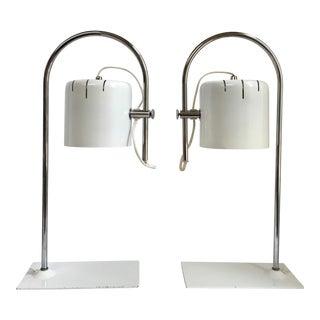 Joe Colombo Style Chrome Desk Lamps - a Pair For Sale