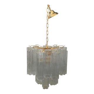 """Contemporary Murano Glass """"Tronchi"""" Chandelierwith 24K Gold Frame For Sale"""