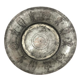 Early 20th Century Hand Etched Antique Copper Plate For Sale