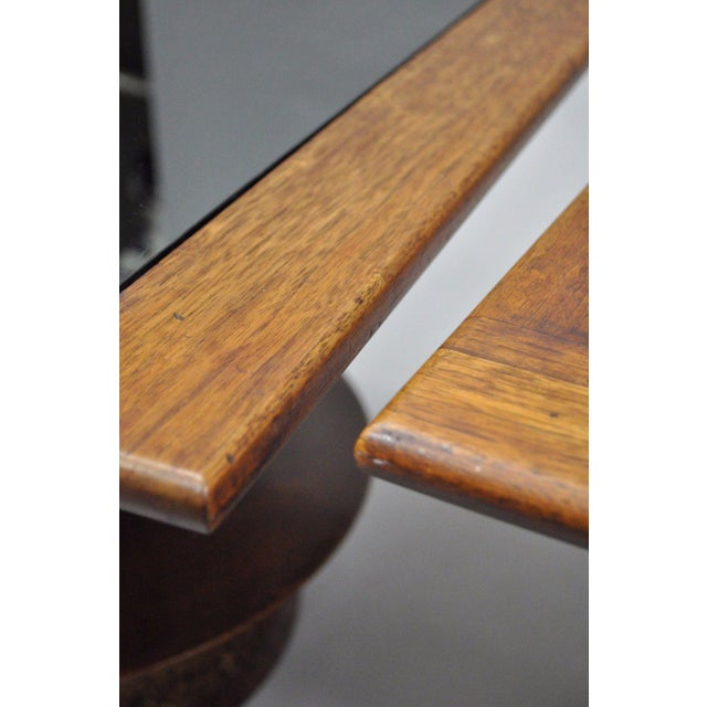 Brown Pair of Vintage Mid Century Modern Cork Sculpted Walnut Glass Square Low Side Tables For Sale - Image 8 of 11