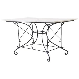 French 19th Century Iron Marble Top Pastry Bakers Table For Sale