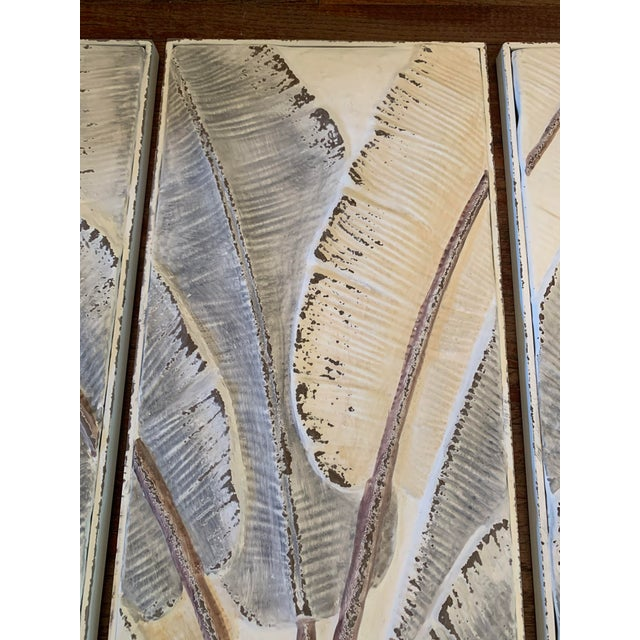 2010s Pressed Tin Triptych of Painted Banana Leaves by Kalalou - 3 Pieces For Sale - Image 5 of 13